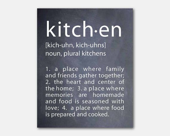 Typography Kitchen Definition 8 X 10 Or Larger Print