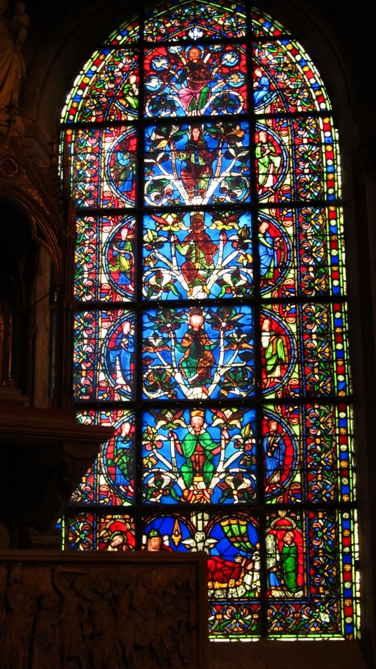 Tree of Jesse Window (1140), St. Denis, Paris. Cathedral of the French Kings since the 12th century; all but three kings of France are buried in this church. Royal and holy blood is an important theme in Gothic art and this is portrayed acutely in this family tree of Jesse.