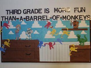 Third Grade is More Fun than a Barrel of Monkeys Bulletin Board for Back to School Pinned by www.FernSmithsClassroomIdeas.com