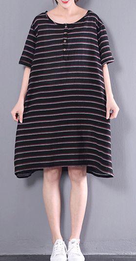 black o neck sundress plus size dress short sleeve strips shift dresses