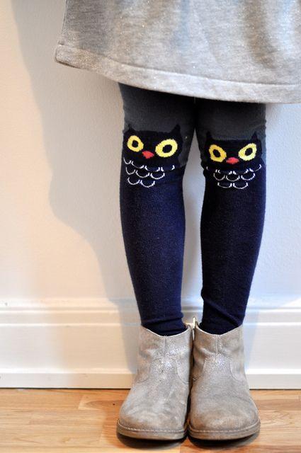 Super sweet owl tights w/ dress & boots