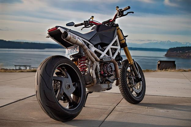 "Of all the bikes we've featured over the past couple of years, I reckon this would be one of the best for flinging down a twisty road. It's owned by Michel Vis, who bought the Hypermotard in 2008 after its first owner low-sided it with only 300 miles on the clock. ""It was declared a…"