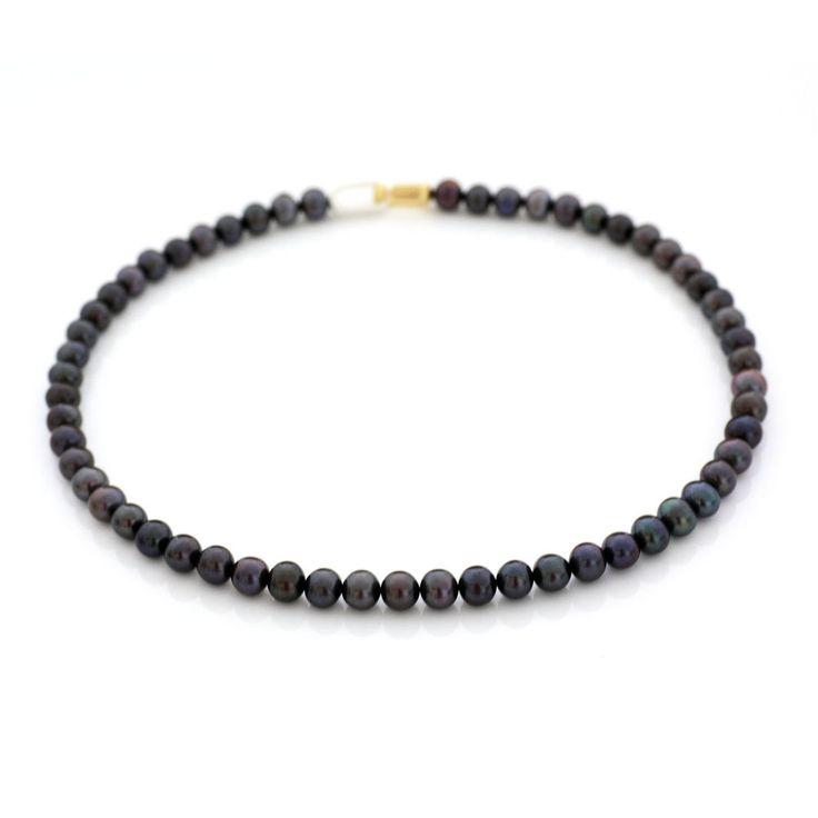 Echte Perlenkette tahiti-schwarz 7-8 mm Zuchtperlen Kette 46 cm 2016 Silber