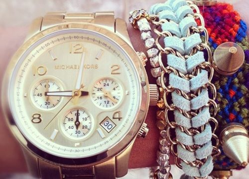 watch + chunky bracelets: Fashion Watches, Arm Candy, Style, Gold Watches, Michael Kors Watches, Accessories, Friendship Bracelets, Arm Parties, Men Watches