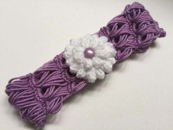 Newborn Crochet Headband Purple White Flower by OrganicKidz