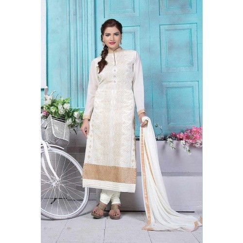 WHITE COLOR FOX GEORGETTE CHURIDAR SUIT Price - £58.00 #OnlineShopping  #DesignerDressesUK #IndianSuitOnline #FashionUK #ShopkundUK