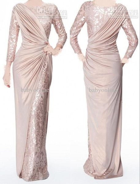 2016 Custom Made Pearl Pink Long Sleeves Mother of Bride Evening Dresses Jewel N…