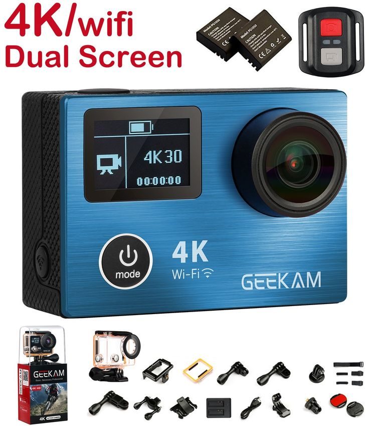 AmazonSmile : Action Camera Cam, 4K Sport Action Camera Camcorder with Remote Control Waterproof Dual Screen Panasonic CMOS Aluminium Alloy Front Cover Wifi HDMI 170 Degree Wide Angle and Tons of Accessories : Camera & Photo