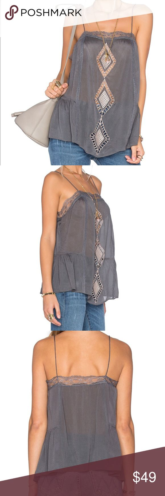 NWOT TULAROSA Marni Diamond Front Cami Size XS TULAROSA Marni Diamond Front Cami Size XS 100% viscose Hand wash cold Front embroidered eyelet detail Lace trim accents Manufacturer Style No. RV15F087 TR COLOR  Charcoal Tularosa Tops Camisoles