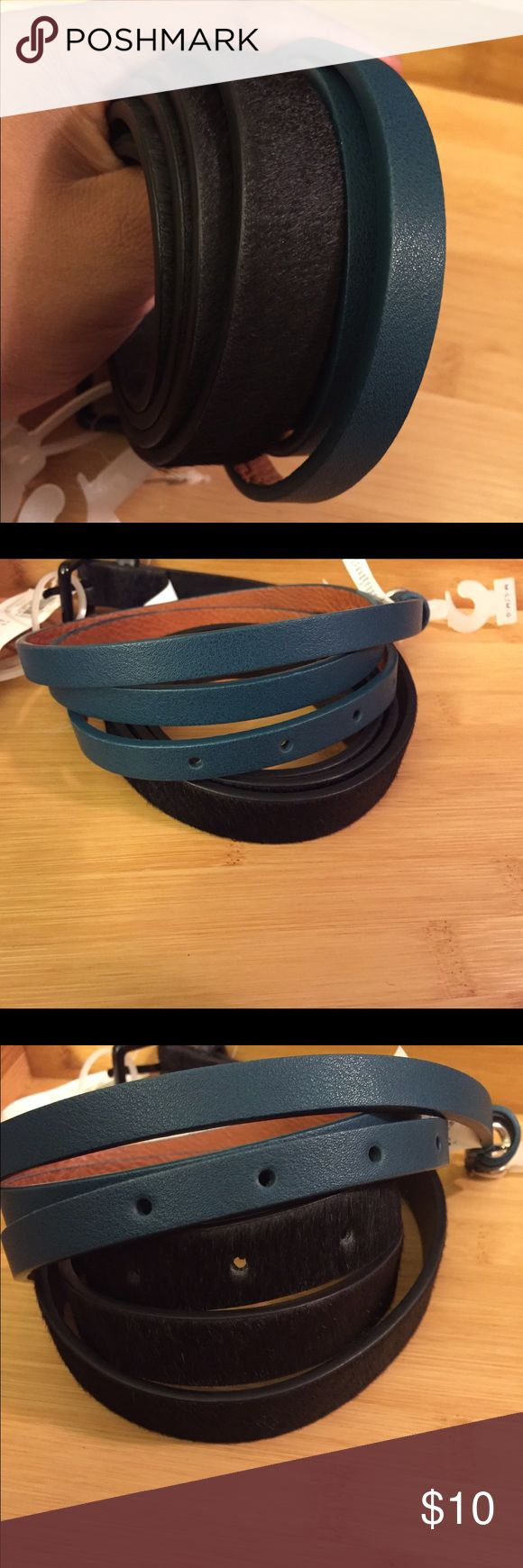2 Old Navy skinny belts - New with tags Chic skinny belts in M-L.  One in dark green and one in black. Black belt is calf hair and faux leather. Old Navy Accessories Belts