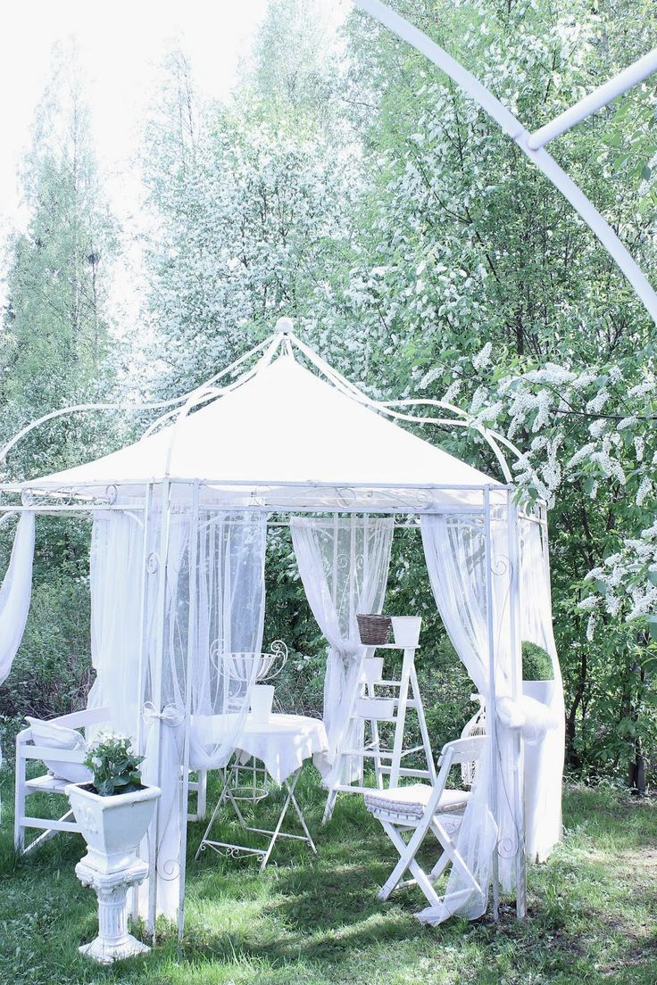 Soft looking fabric flowing from gazebo