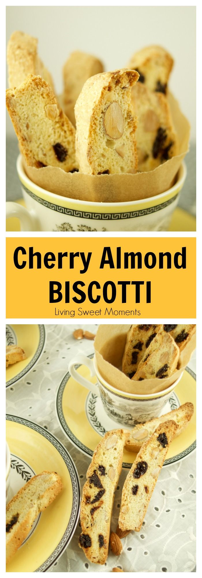 These delectable Italian Cherry Almond Biscotti recipe (Cantucci) are the perfect cookies to dip in wine, coffee and hot cocoa for breakfast, snack or dessert. More on livingsweetmoments.com