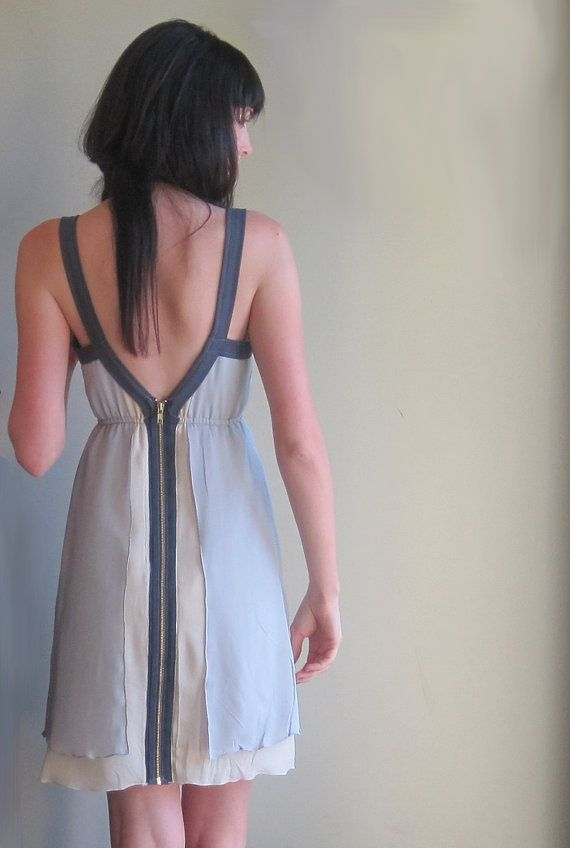 Grey minimal silk dress - geometric lines with deep v-neckline and zip up back - large on Etsy, £124.51