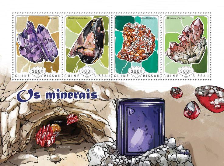 Post stamp Guinea-Bissau GB 14602 aMinerals (Amethyst, {…}, Hematoid quartz)