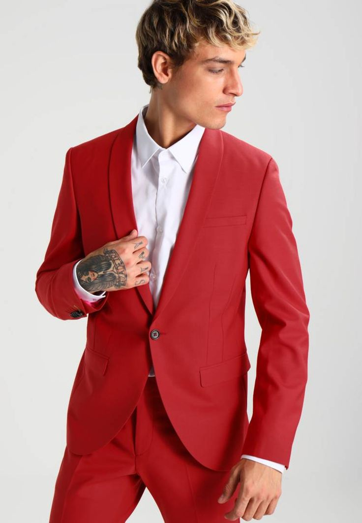 """Noose & Monkey. ELLROY SKINNY FIT - Suit - scarlett. Outer fabric material:53% polyester, 43% wool, 4% spandex. Pattern:plain. Care instructions:Dry clean only. Sleeve length:Extra long,25.5 """" (Size 40). Back width:19.5 """" (Size 40). outer leg length:..."""