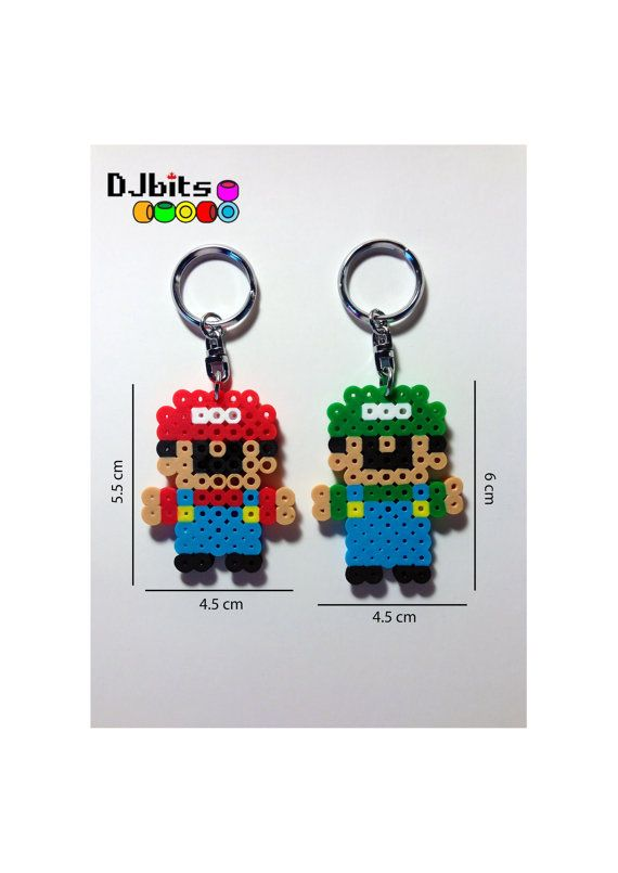 Mario or Luigi Keychains from Perler Beads by DJbits on Etsy, $2.00