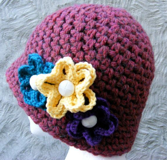 Easy Crochet Winter Hat Patterns : Hat Crochet PATTERN - Ladies Winter Hat with Flower - Very ...