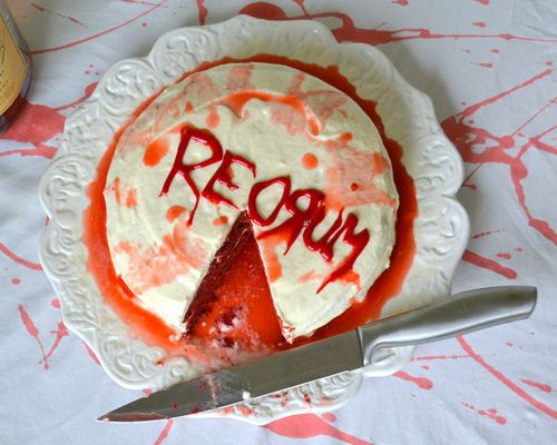 9 Horror-ific Cakes for Stephen King's Birthday! | here is a Redrum Cake With Boozy Cream Cheese Frosting you can make and really eat! You didn't think we'd make you stare at all that yummy gore without letting you have some did you?
