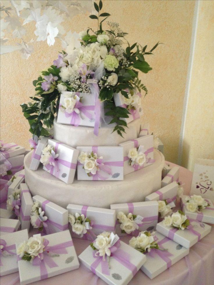 composizione matrimonio bianco e lilla