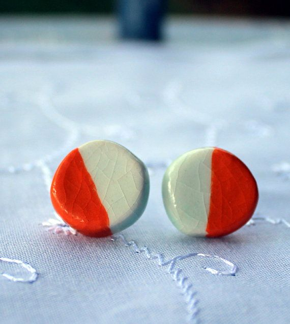 Little Bright ceramic Studs by LittleBright on Etsy