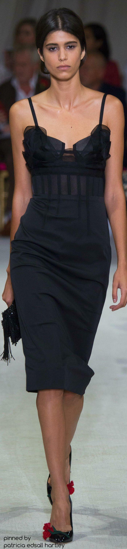 Oscar de la Renta ~ Spring Black Silk Midi Dress,  2016