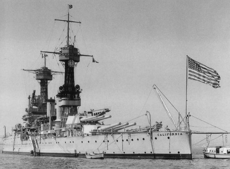 USS California (BB44) - first flagship of the Pacific Fleet, torpedoed at Pearl Harbor, refloated and resumed service. Hit by a kamikaze Jan 1945 (44 crew killed, 155 wounded). Ended up sold for scrap in 1959.