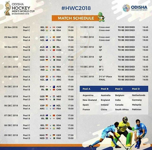 Mark Your Calendars Titans Of World Hockey Are Coming To Odisha Here Is The Full Schedule For Hwc2018 Indiakagame World Cup Match Match Schedule World Cup