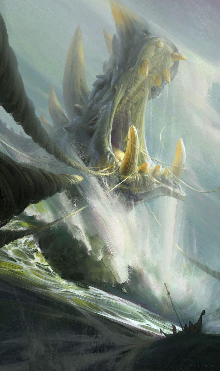 The monster's final struggle, Ruxing Gao on ArtStation at https://www.artstation.com/artwork/0aQnY