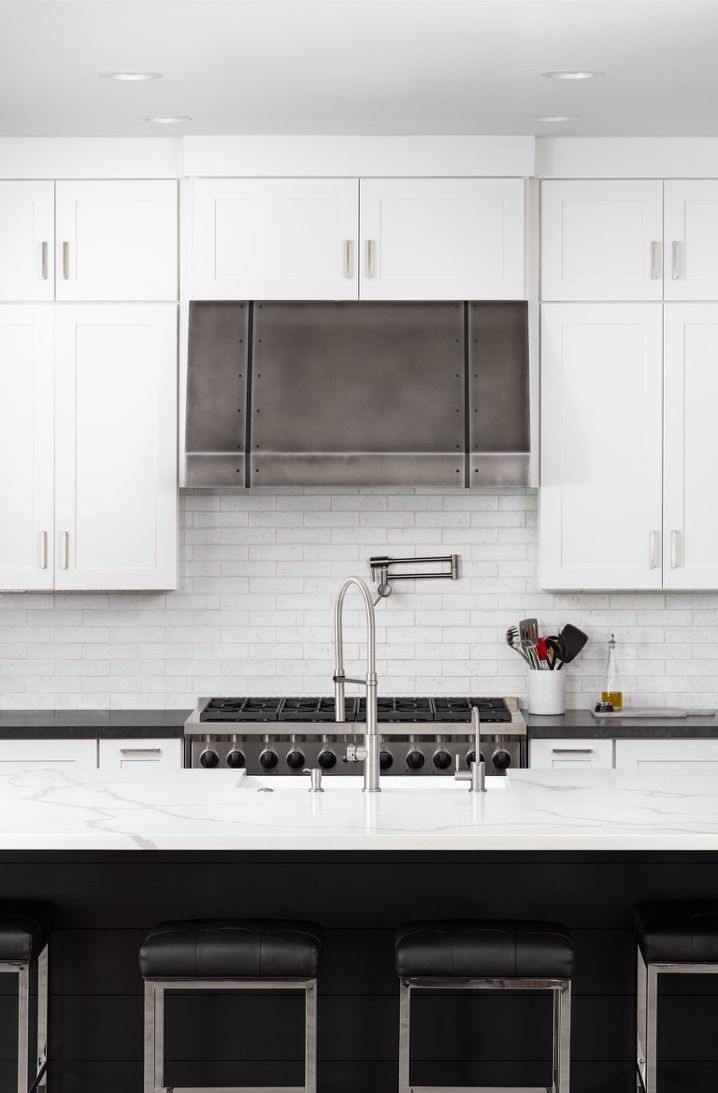 Black White Kitchen With Marble Island Simple And Totally