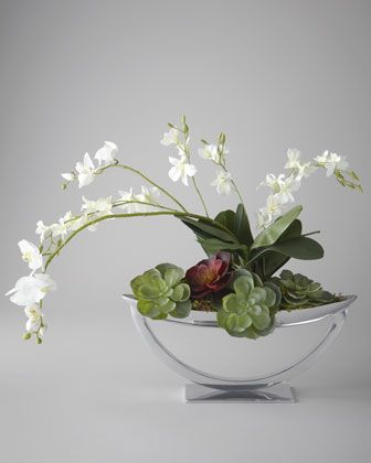 """Steely Orchids"" Faux Floral Arrangement by John-Richard Collection at Neiman Marcus."