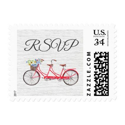Country Watercolor Bike Wedding Postcard Postage - country wedding gifts marriage love couples diy customize