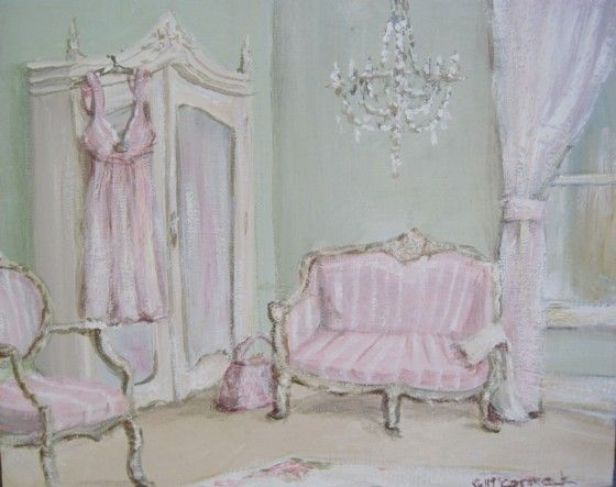 Original Whimsical Painting - The Elegant Bedroom - Postage is included Australia Wide
