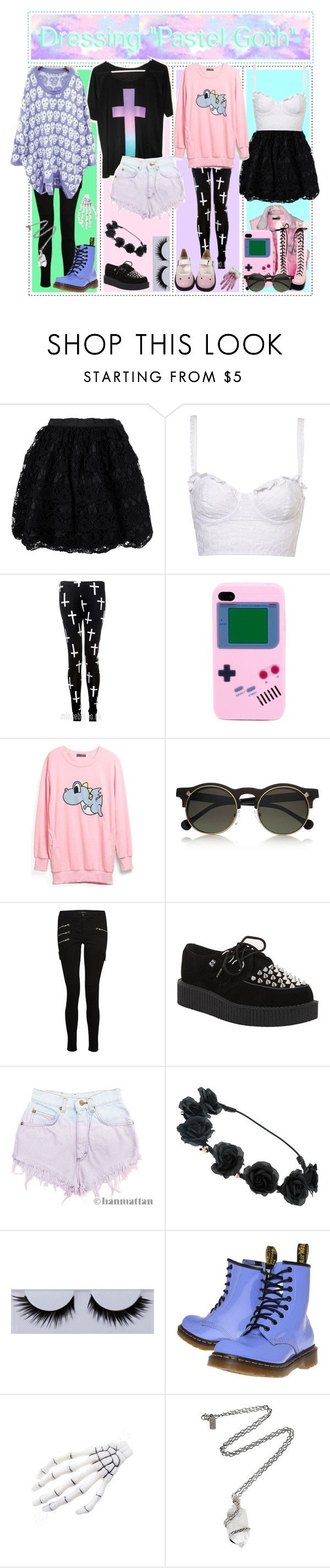 """""""How To Dress Pastel Goth"""" by hardcore-tipgirls ❤ liked on Polyvore featuring RED Valentino, Carven, J Brand, T.U.K., Levi's, Dr. Martens, Kreepsville 666 and Pamela Love"""