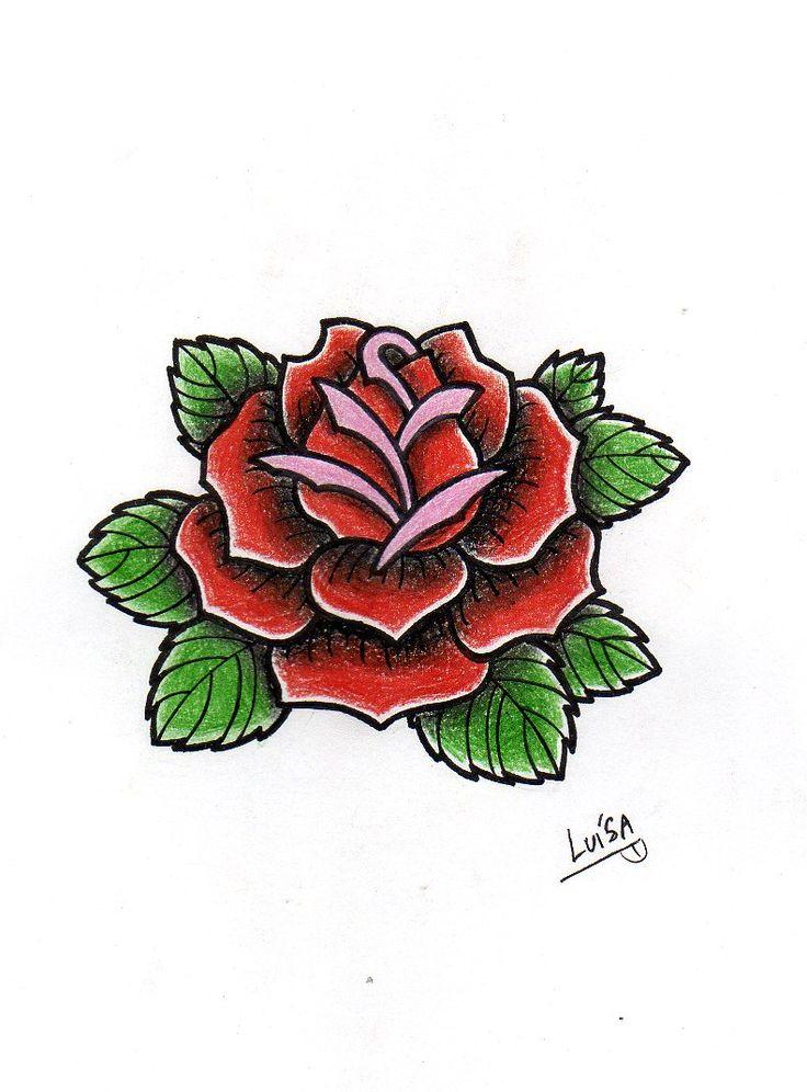 Rose  Tattoo study, old school.  Lápis de cor/nanquim preto.