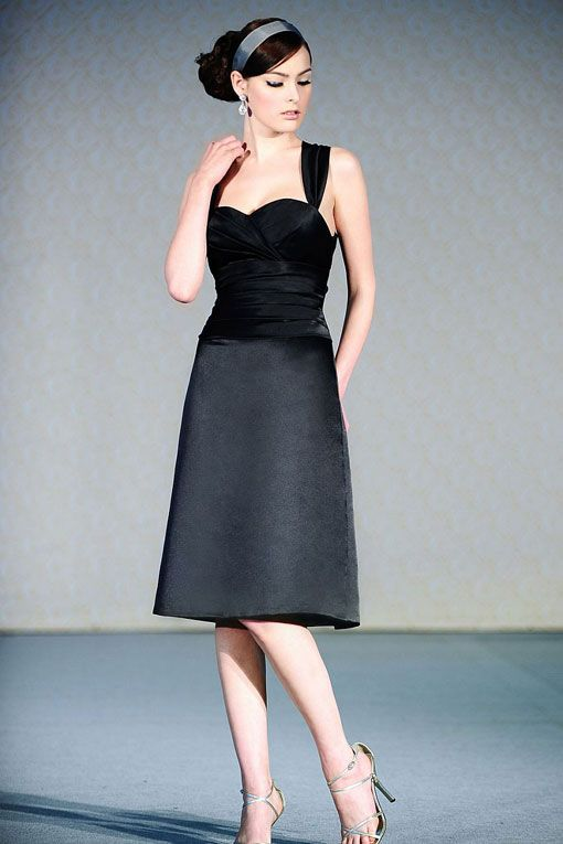 Straps satin bridesmaid dress with dropped waist