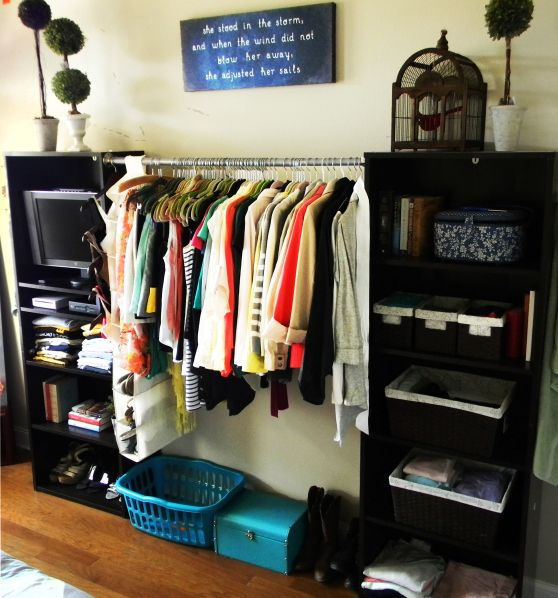 No Closet Solution   I Actually Really Like This Idea For Hanging Clothes.  Affordable, Quick And Easy. We Could Put Another Bar, Shelf Or Shoe Rack ...