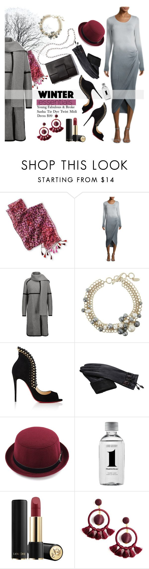 """""""Winter Dress Under $100"""" by esch103 ❤ liked on Polyvore featuring Belstaff, MM6 Maison Margiela, Lanvin, Christian Louboutin, Lord & Berry, Lancôme, dress, under100, winterstyle and grayandberry"""