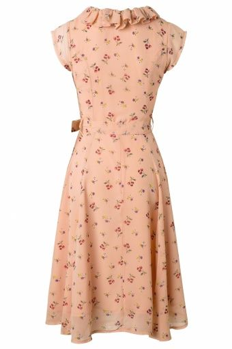 Collectif Clothing Violet Blush Pink Floral Dress 1950s