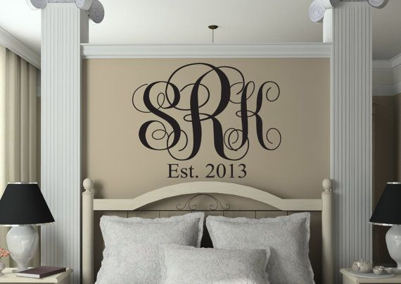Three Initial Monogram Wall Decal - Bedroom Script Monogram Established Date Decals - Vinyl Wall Family Decor