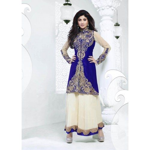Shilpa Shetty Off White and Blue Georgette Velvet Anarkali Suits