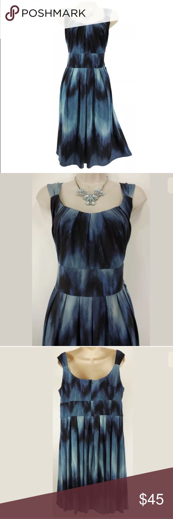 """18W 2X▪️BLUE OMBRÉ PLEATED SUMMER DRESS Plus Size This gorgeous ombre dress is sexy, trendy, and fashionable!   Size: 18W Back zip Pleated style Beautiful blue ombre print Stretchy, super comfortable fabric Measurements: Bust (armpit to armpit):  45"""" relaxed - stretches to 52"""" Waist: 43"""" relaxed - stretches to 46"""" Hips:  72"""" relaxed Length: 41"""" (top of shoulder to bottom hem)  Condition: PRISTINE CONDITION! Fabric Content: 95% Polyester  5% Spandex Fabric Care:  Hand Wash Dress Barn Dresses"""