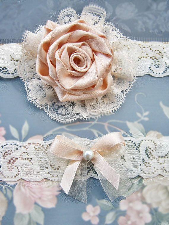 Wedding Garter Set Ivory Bridal Lace Garters Vintage Toss Pink On