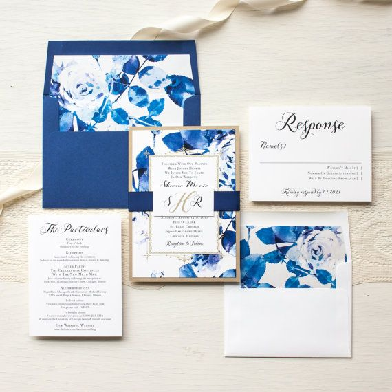 "Royal Blue Wedding Invitations, Modern Wedding Invites, Gold and Navy, Calligraphy, Elegant, Floral Envelope Liners - ""Urban Garden"" Sample"