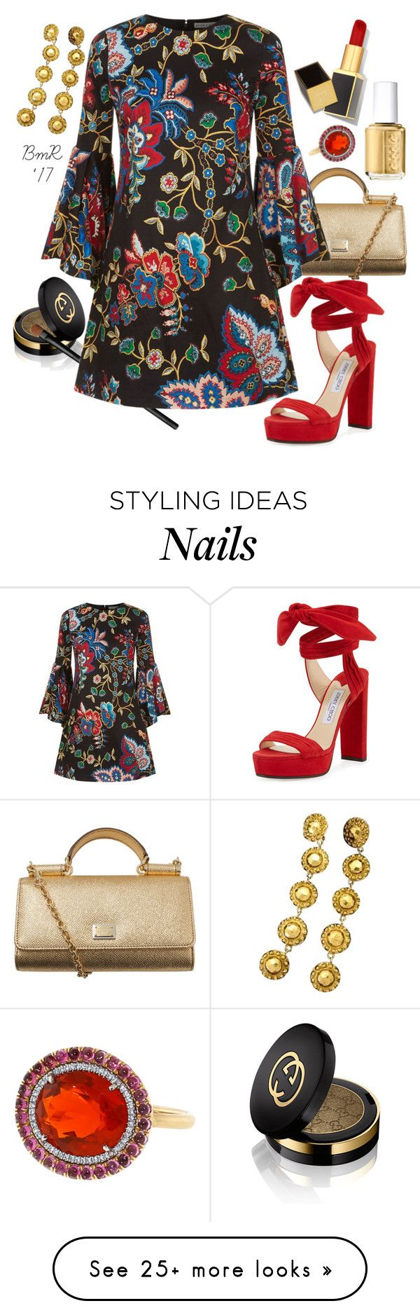 """""""Le Fleur"""" by barbmama on Polyvore featuring Gucci, NARS Cosmetics, Dolce&Gabbana, Alice + Olivia, Jimmy Choo, Essie, Tom Ford, Chanel and Irene Neuwirth"""