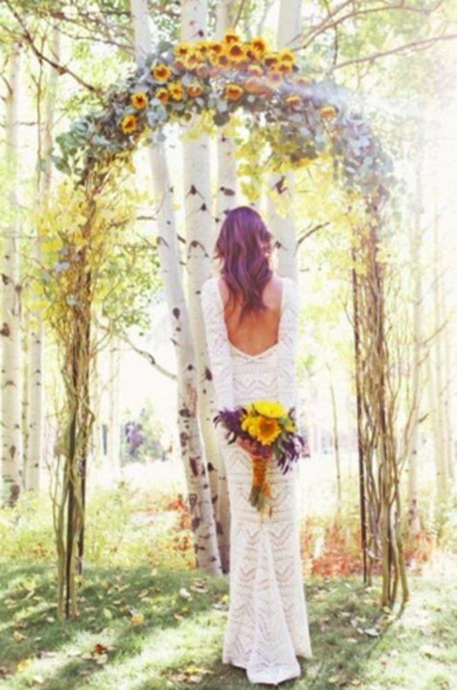 Sunflower wedding arbour bouquet lace dress wedding for Sunflower dresses for wedding