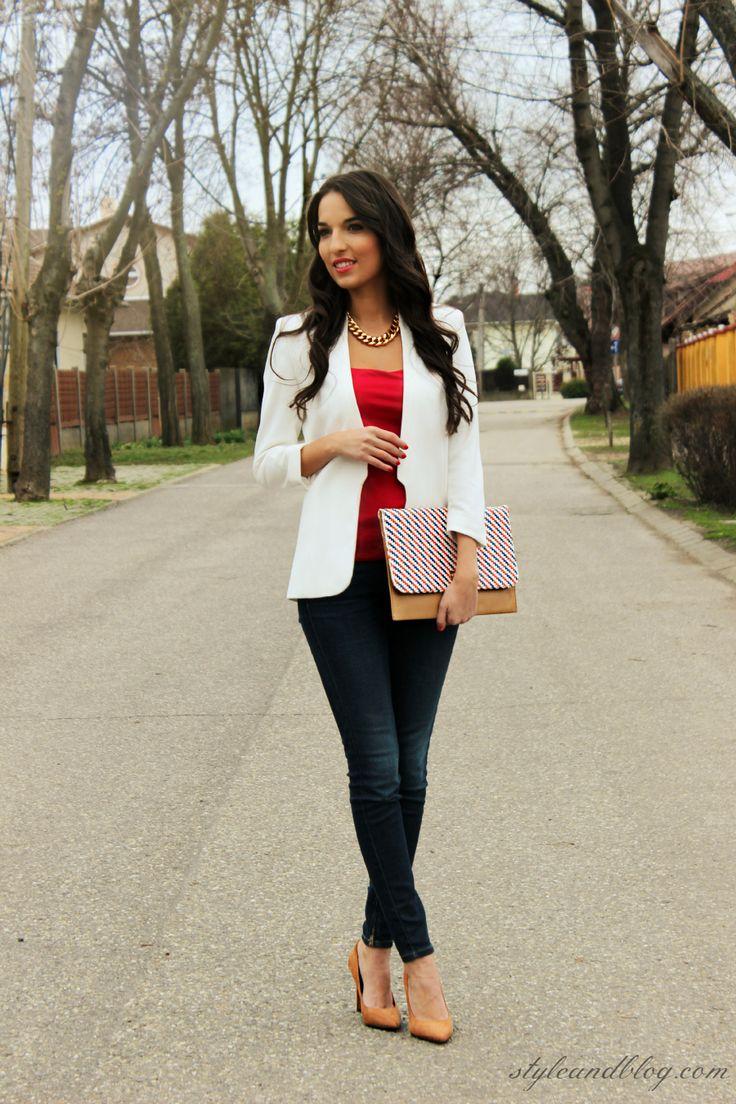 White Blazer, Red Cami, Dark Wash Jeans, & Nude Heels