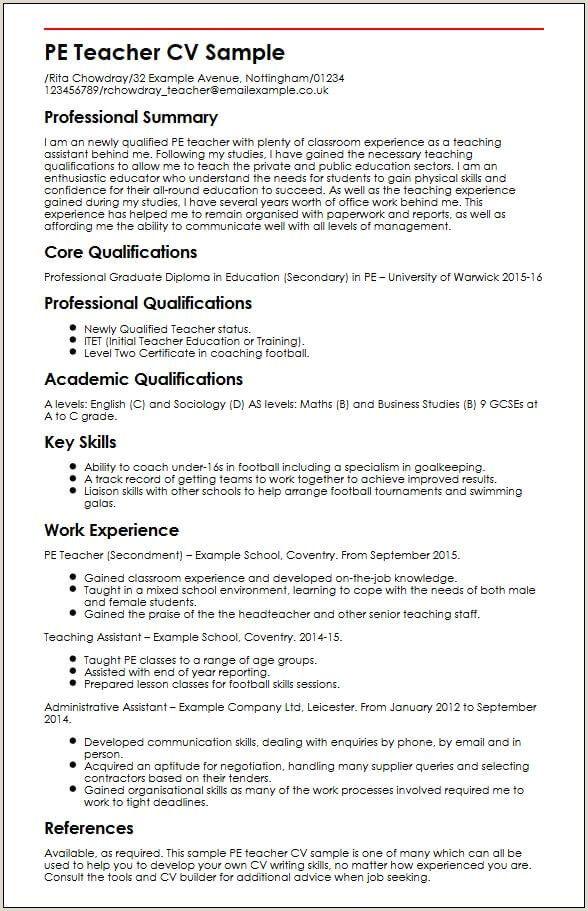 Standard Cv Format For Teaching Profession Standard Cv Format For