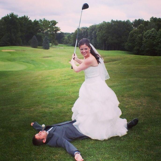 Golf course wedding photo must