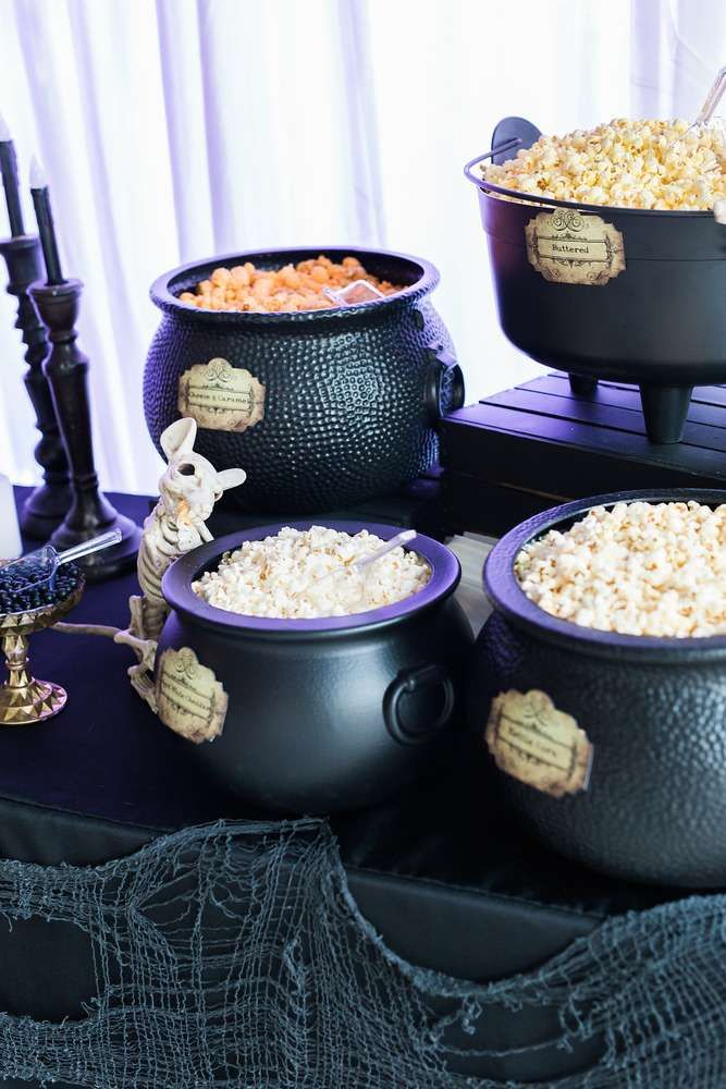 Popcorn bar at a witches Halloween party! See more party planning ideas at CatchMyParty.com!