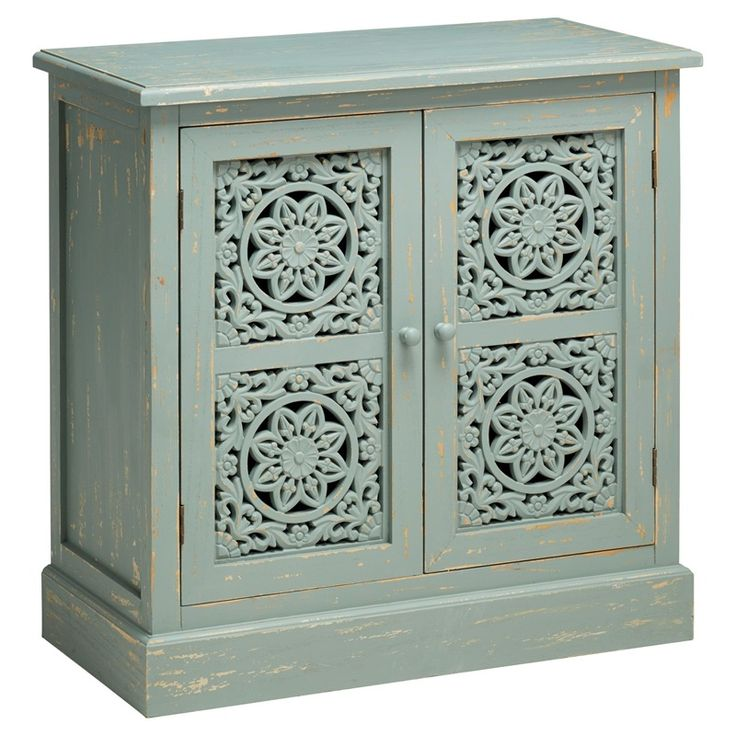 Sava small mint green cupboard with carved wooden doors, Indian style. So sweet.